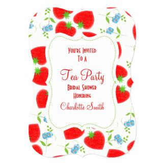 Strawberries Flowers Editable Tea Party Invite