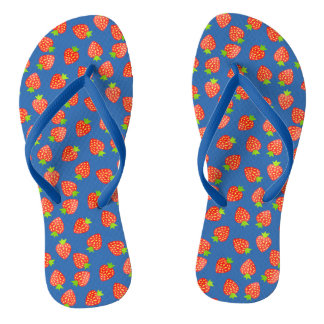 Strawberries Fruit Pattern in Red and Blue Summer Thongs