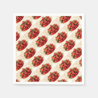 Strawberries in a Beige Colander Close Up Disposable Serviettes