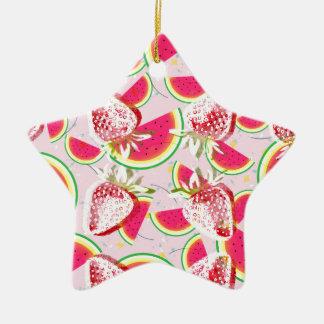 Strawberries Melon Fiesta Pattern Ceramic Ornament
