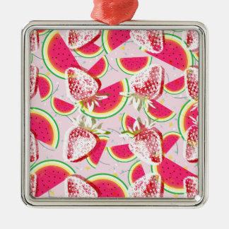 Strawberries Melon Fiesta Pattern Metal Ornament
