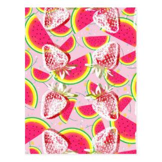 Strawberries Melon Fiesta Pattern Postcard