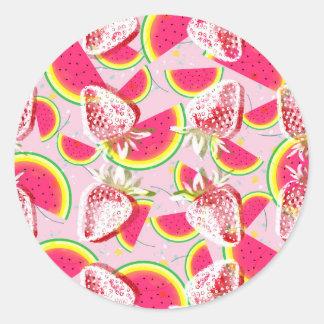Strawberries Melon Fiesta Pattern Round Sticker