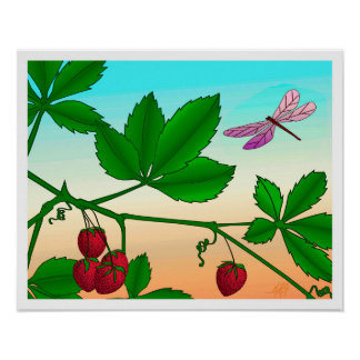 """Strawberries on a Branch"" print with border"