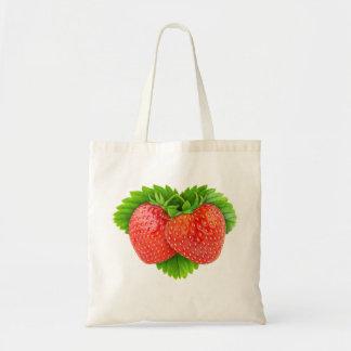 Strawberries on a leaf budget tote bag