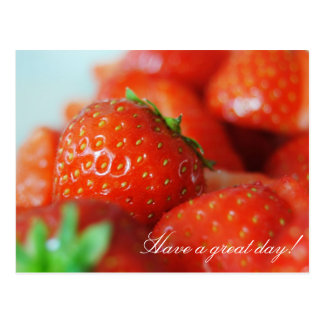 Strawberries on a summer's day with bokeh effect postcard