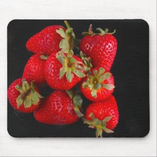 Strawberries on black Mousepad