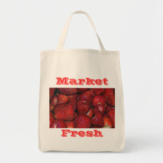 Strawberries-Organic Grocery Tote Grocery Tote Bag