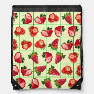 Strawberries pattern drawstring bag