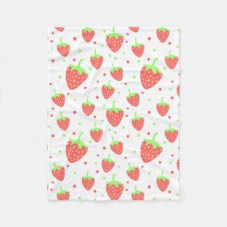 Strawberries pattern fleece blanket