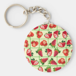 Strawberries pattern key ring