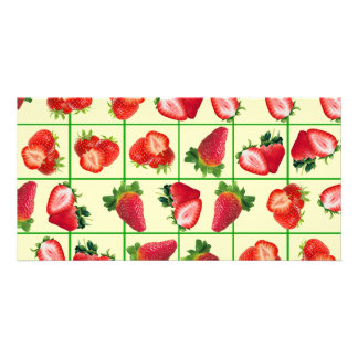 Strawberries pattern personalised photo card