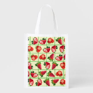 Strawberries pattern reusable grocery bag