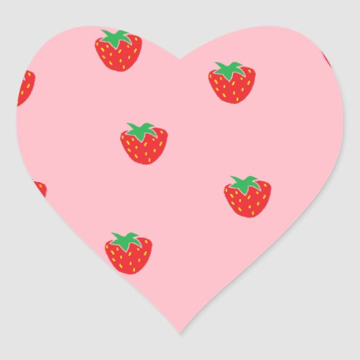 Strawberries Pink Heart Sticker