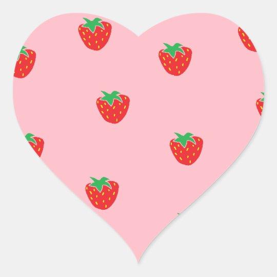 Strawberries Pink Heart Sticker