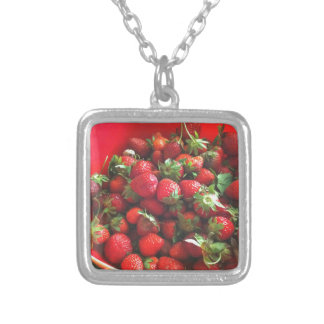 Strawberries Silver Plated Necklace