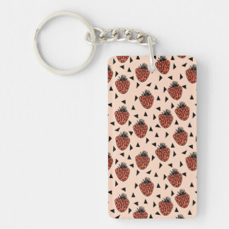 Strawberries Strawberry Blush Coral /Andrea Lauren Double-Sided Rectangular Acrylic Key Ring