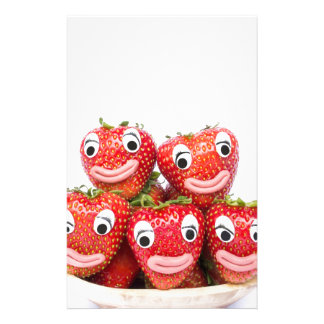 Strawberries with eyes and mouth personalised stationery