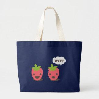 Strawberries (WTF?) Large Tote Bag