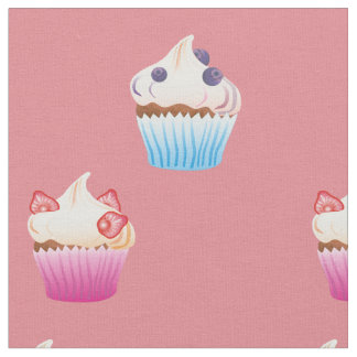 Strawberry and Blueberry cupcakes pattern Fabric