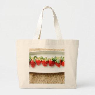 Strawberry and Burlap Tote Bag
