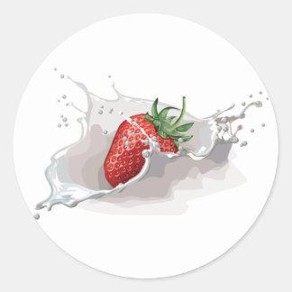 Strawberry and Cream Round Sticker