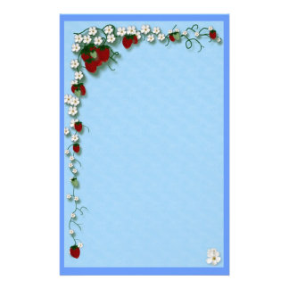 Strawberry and Flowers Customised Stationery