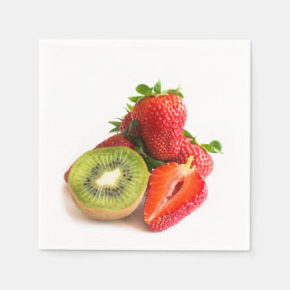 Strawberry and kiwi disposable serviettes