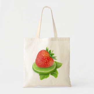 Strawberry and slice of lime budget tote bag
