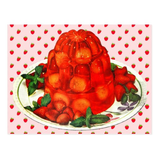 Strawberry-banana jello dessert post cards