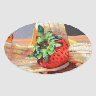 Strawberry Banana Split Oval Sticker