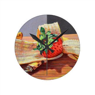 Strawberry Banana Split Round Clock