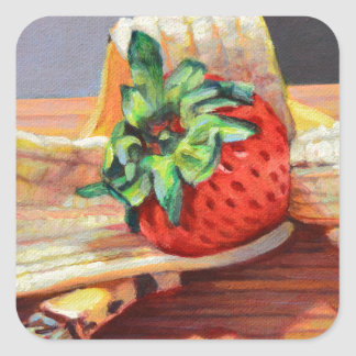 Strawberry Banana Split Square Sticker