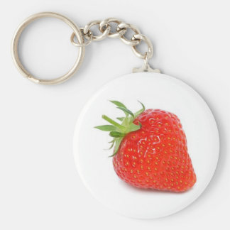 Strawberry Basic Round Button Key Ring