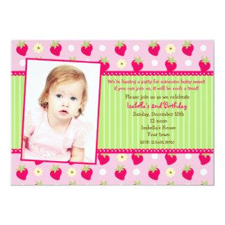 Strawberry Berry Photo Birthday Party Invitations