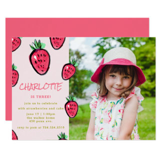 Strawberry Birthday Party Invitation Berry Sweet