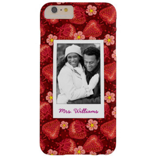 Strawberry Blossom Pattern | Monogram Barely There iPhone 6 Plus Case