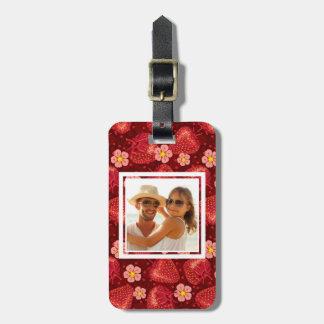 Strawberry Blossom Pattern   Monogram Luggage Tag