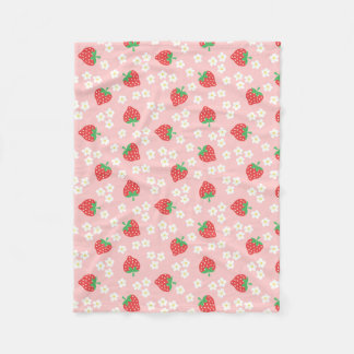Strawberry Blossoms Pink Pattern Fleece Blanket