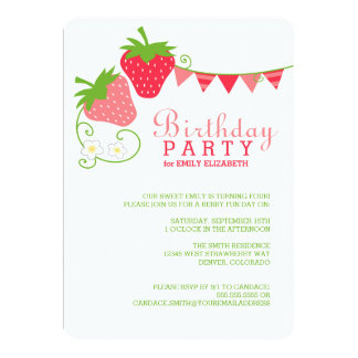 Strawberry Bunting Pink and Green Birthday Card