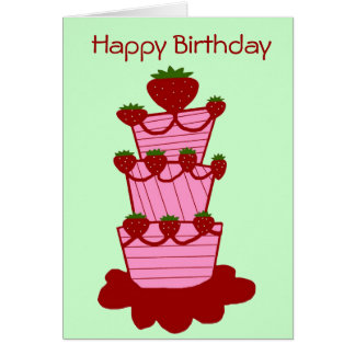 Strawberry cake, Happy Birthday card