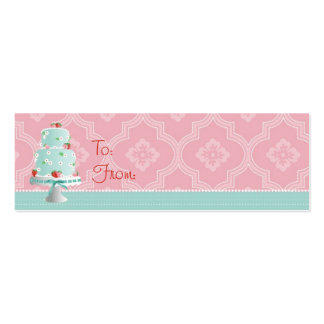 Strawberry Cake Skinny Gift Tag Business Card