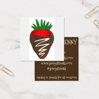 Strawberry Candy Sweets Chocolatier Pastry Food Square Business Card