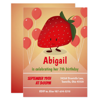 Strawberry Cartoon Birthday Invitation