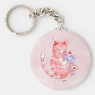 Strawberry Cat Drinking Malt Keychain
