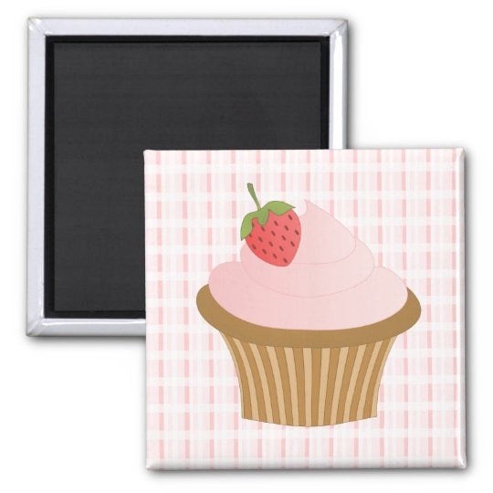 Strawberry Chocolate Cupcake Square Magnet