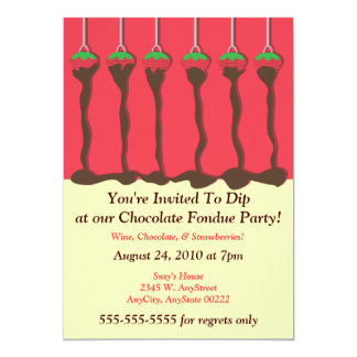 Strawberry & Chocolate Fondue Party Invitation