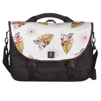 Strawberry Chocolate Ice Cream Cones Sunny Pattern Laptop Commuter Bag