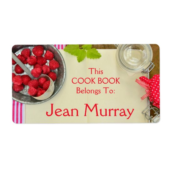 Strawberry Cook Book Label Shipping Label