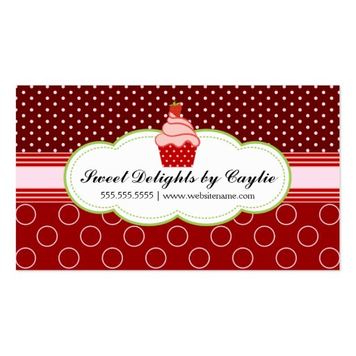 Strawberry Cupcake Bakery Business Cards